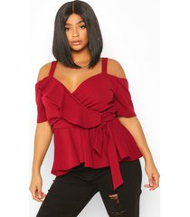 plus plunge ruffle cold shoulder peplum top, berry