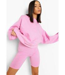 overdye sweater en fietsbroekje, pink