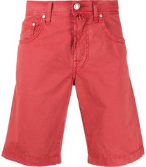 jacob cohen straight leg chino shorts - red