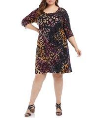 plus size women's karen kane tie dye burnout leopard spot dress, size 0x - black