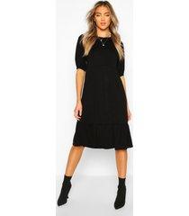 midi jurk met langere achter zoom en elastische mouwen, zwart