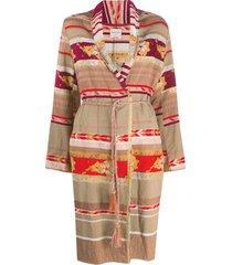 forte forte patchwork design belted coat - neutrals