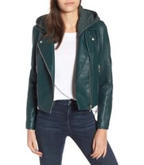 women's blanknyc meant to be moto jacket with removable hood, size x-small - green