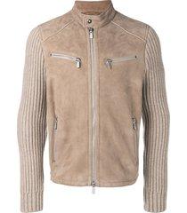eleventy ribbed sleeve jacket - neutrals