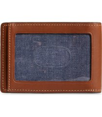 nordstrom wyatt leather card case with money clip in brown mahogany at nordstrom