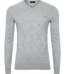 suéter tricot jacquard cinza soft - kanui