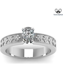 10k white gold over pure 925 silver oval shape diamond solitaire engagement ring
