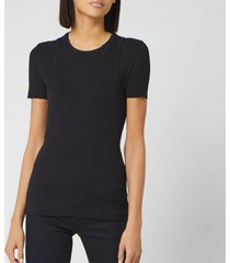 helmut lang women's double layer t vintage slub rib vest - black - l