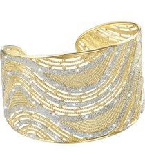 bracciale bangle big in ottone dorato e glitter per donna