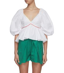 'dani' rainbow piping cotton poplin blouse
