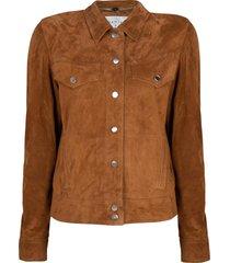suã¨de fringe jacket dallan  bruin