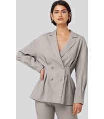 na-kd classic gathered double breasted blazer - grey