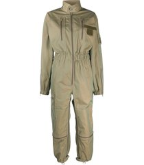 maison margiela zipped long-sleeve jumpsuit - green