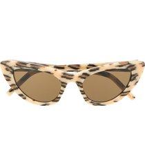 saint laurent eyewear lily leopard-print cat-eye sunglasses - neutrals