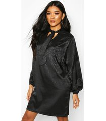 pussy bow jacquard shift dress, black