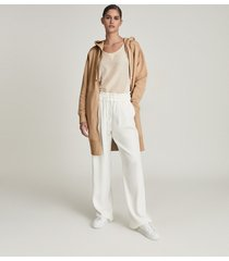 reiss brinley - longline loungewear hoodie in camel, womens, size l