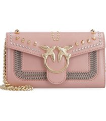pinko leather wallet on chain