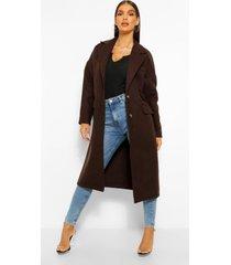 tailored wool look boyfriend coat, chocolate