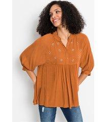 lange blouse met bloemapplicaties