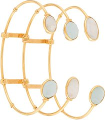 gas bijoux triple tier cage bangle - gold