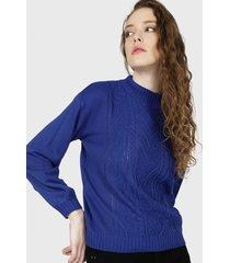 sweater io trenzas azul - calce holgado
