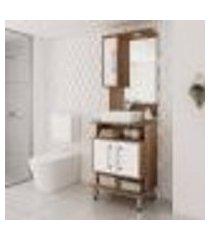 conjunto para banheiro branco brilho castanho tannat lilies móveis