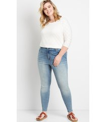 maurices plus size womens medium high rise curvy jegging blue