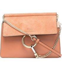 chloé faye o-ring crossbody bag - neutrals