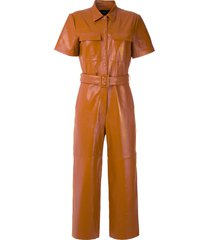 eva leather jumpsuit - brown