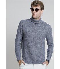 suéter masculino em tricô texturizado gola alta azul