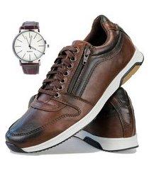 sapatenis dhl calçados neway florense casual easywear cafe + relógio marrom