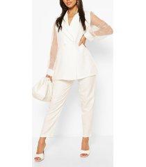organza sleeve tailored blazer, white