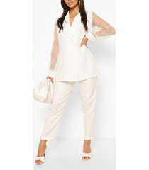 organza sleeve tailored blazer, white