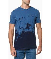 camiseta mc regular silk meia tinto gc - azul médio - pp
