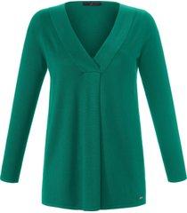 trui in wijd a-model lange mouwen van emilia lay groen