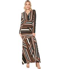 vestido largo manga larga original estampado listrado natural basic