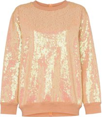 ashish sequin rear zip cotton blend sweatshirt - neutrals