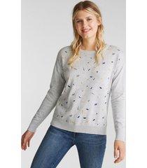 sweater mujer bordado gris claro esprit