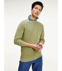 tommy hilfiger men's knit crewneck sweater faded olive - s