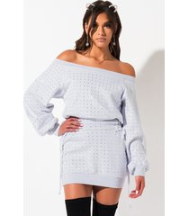 akira take the day off shoulder rhinestone mini corset sweatshirt dress