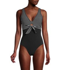 sailor tie-front one-piece swimsuit