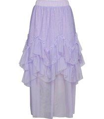 zigzag frill skirt knälång kjol lila ivyrevel