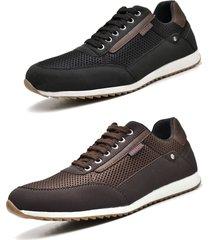 kit 02 pares de sapatãªnis sapato casual juilli masculino 1100m marrom e preto - marrom/multicolorido/preto - masculino - couro sintã©tico - dafiti