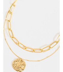 addie layered hammered coin necklace - gold