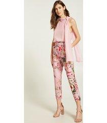 motivi pantaloni a sigaretta a fiori con cintura donna rosa