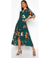 floral print wrap tie sleeve midi dress, green