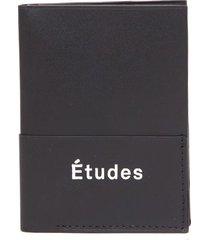 études black leather card holder