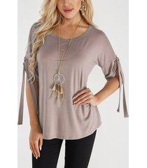 khaki lace-up design round neck short sleeves t-shirts