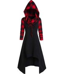 hooded plaid high low convertible midi dress