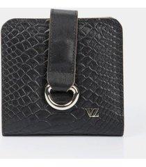 billetera argolla de cuero para mujer grabado reptil